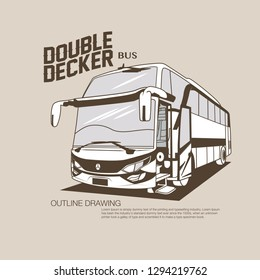 Modern double decker bus outline drawing illustraton