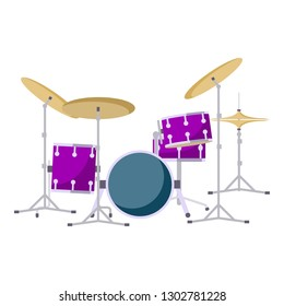 Modern drums kit icon. Flat illustration of modern drums kit vector icon for web design