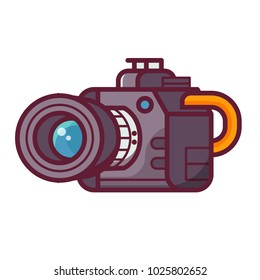 Modern DSLR camera icon. Photocamera with zoom lens isolated on white background .