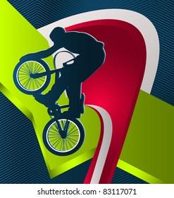 Modern dynamic designed sport vector background. BMX.