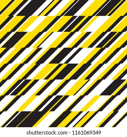 Modern dynamic diagonal stripes geometric seamless pattern for background, wrapping paper, fabric, surface design. Black and yellow repeatable motif.