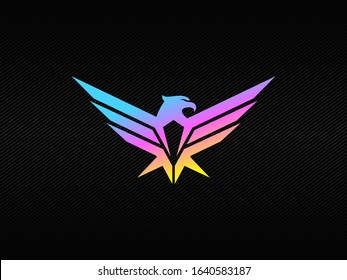 Modern eagle badge logo with blue purple and yelow  RGB colors 500