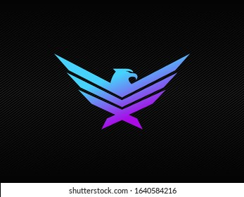 Modern eagle badge logo with blue and purple RGB colors