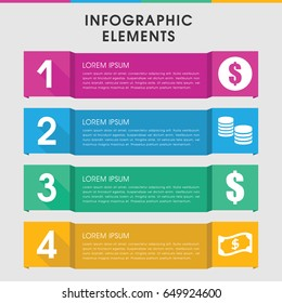 Modern earn infographic template. infographic design with earn icons includes crown, money. can be used for presentation, diagram, annual report, web design.
