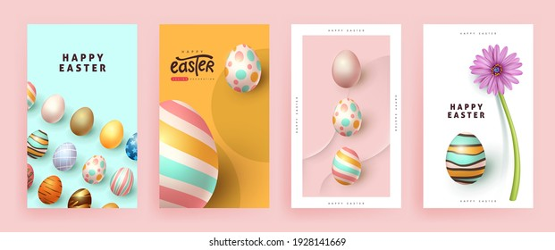 Modern easter banner poster background template with colorful eggs.