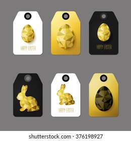 Modern Easter cards, ready-to-use gift tags in black, gold and white. Vector illustration. Flat design polygon of golden eggs and Easter Bunny. Perfect for greeting card or elegant party invitation.