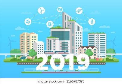 Modern eco city - colorful flat design style vector illustration on blue background. Skyscrapers, train, bins, solar panels, windmills, renewable energy, recycling infographic elements, 2019 year sign
