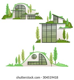 Modern eco houses collection in vector illustration