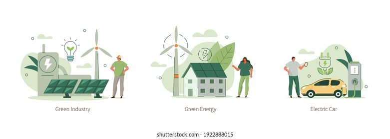 Modern Eco Private House with Windmills and Solar Energy Panels, Electric Car near Charging Station, Green Industrial Factory with Renewable Energy.  Flat Isometric Vector Illustration and Icons Set.