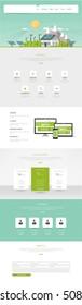 Modern Eco website template with flat eco landscape illustration