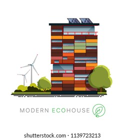 Modern ecohouse architecture. Facade of a modern ecohouse building. Exterior of a modern ecohouse building. Vector facade of a modern ecohouse in a flat style with wind farm on white background