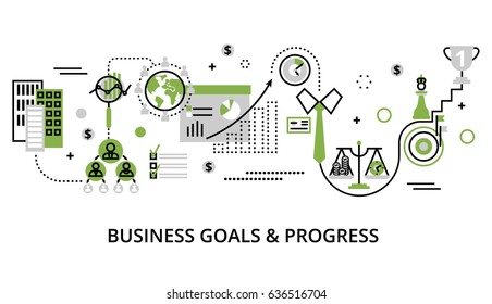 Modern editable line design vector illustration, concept of modern business goals and progress in greenery color, for graphic and web design
