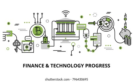 Modern editable line design vector illustration, concept of modern business, finance and technology progress in greenery color, for graphic and web design