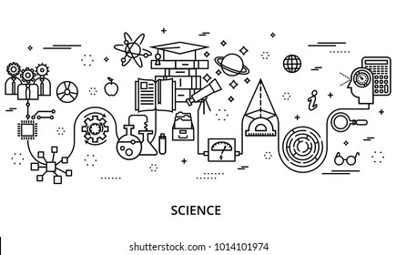 Modern editable line vector illustration, concept of science development, for graphic and web design