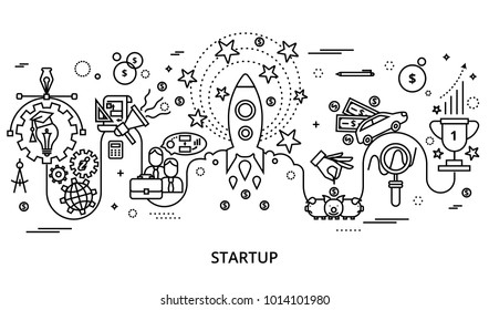 Modern editable vector illustration, concept of startup project, business strategy and innovation development, for graphic and web design