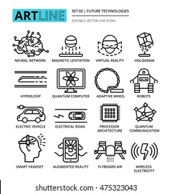 Modern editable vector line icons set of future technologies and innovations, for graphic and web design