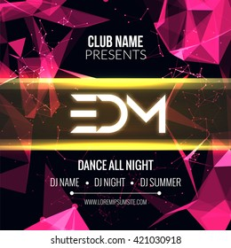 Modern EDM Music Party Template, Dance Party Flyer, brochure. Night Party Club Banner Poster