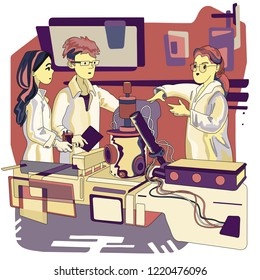 Modern education concept. Hand drawn vector Illustration of a lab technician explaining experiment to students.