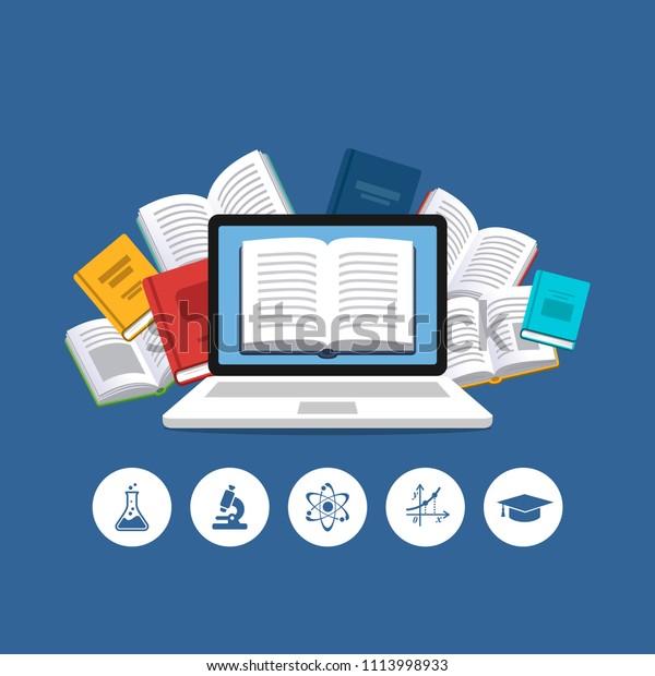 Concept d'éducation moderne. Icônes scientifiques et Ordinateur Portable avec les livres volants en arrière-plan. Livres électroniques, cours sur Internet et processus de remise des diplômes.