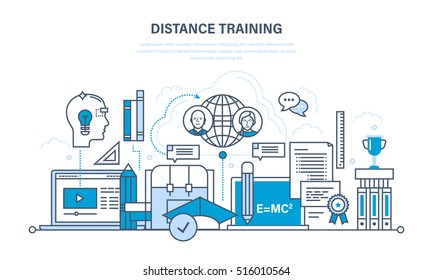 Modern education and learning technologies, remote online courses, communications, literature and training programs, lectures. Illustration thin line design of vector doodles, infographics elements.