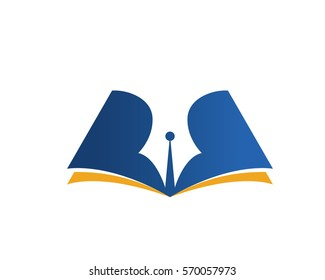 Modern Education Logo Showing Blue Pen and Book Symbol