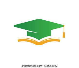 Modern Education Logo Showing Green Graduation Hat and Book Symbol