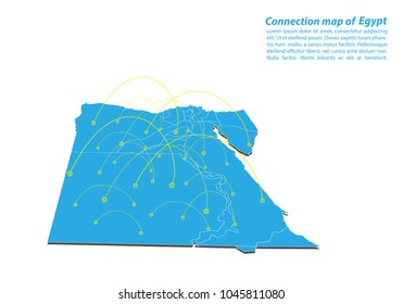 Modern of egypt Map connections network design, Best Internet Concept of egypt map business from concepts series, map point and line composition. Infographic map. Vector Illustration.