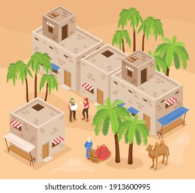 Modern egypt tourist attractions isometric background composition with visitors exploring kings valley and camel ride vector illustration