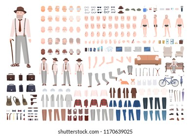 Modern elderly man or grandfather DIY kit. Set of male body parts in different positions, gestures, facial expressions, haircuts, clothes isolated on white background. Cartoon vector illustration.
