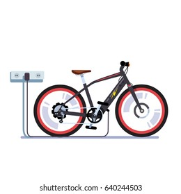 Modern electric bicycle charging it's batteries with wall outlet plug wire. EV bike station. Flat style vector illustration isolated on white background.