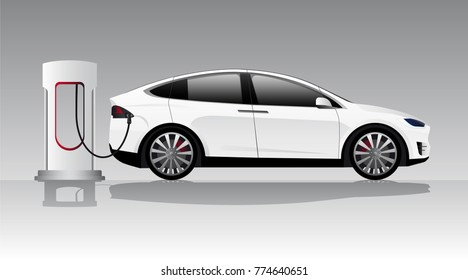 Modern electric car charging at the charger station. Vector illustration EPS 10.