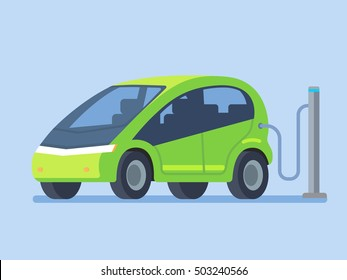 Modern electric car charging. Vector illustration