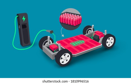 Modern electric car modular platform board charging battery pack rechargeable cells inside. Electric skateboard module chassis components, motor powertrain, controller. Isolated vector illustration