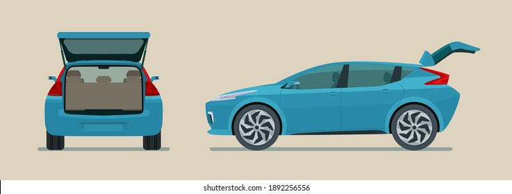 Modern electric CUV car with open trunk isolated, side and back view. Vector flat style illustration.