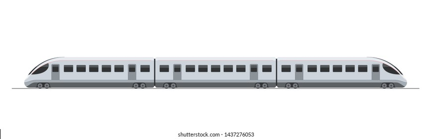 Modern electric high-speed train. Railroad travel and railway tourism. Subway or metro streamlined fast train transport. Vector illustration isolated on white background