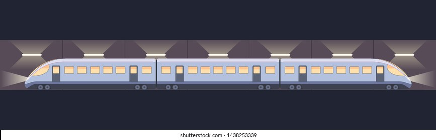Modern electric high-speed train in the tunnel. Railway travel and railway tourism. Metro or subway streamlined fast train transport. Vector illustration isolated on white background