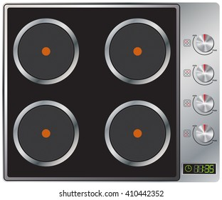 Modern electric hob with digital clock. Four zones. Silver color. Vector Image.