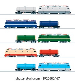 Modern electric locomotive and tank car. Vector image in five color variations