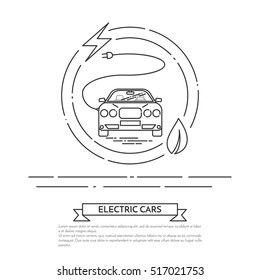 Modern electric powered car with cord and plug. Vector line art illustration of eco green friendly electric car on white background. Electromobility e-motion concept.