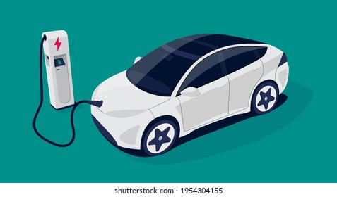 Modern electric smart car charging parking at the charger station with a plug in cable. Isolated flat vector illustration concept on colour background. Electrified futuristic transportation e-motion.