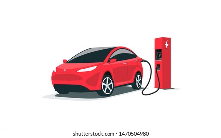 Modern electric smart suv car charging parking at the charger station with a plug in cable. Isolated flat vector illustration concept on white background. Electrified future transportation e-motion.