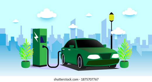 Modern electric smart suv car charging parking at the charger station with a plug in cable. vector illustration concept .