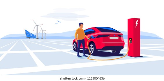Modern electric suv car charging at the charger station with a young man holding the cable. Wind turbines and solar panels in background. Electromobility e-motion flat vector illustration concept.
