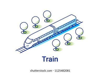 Modern electric train illustration in linear isometric style. Minimal art line.