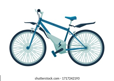 Modern Electro Bike, Personal Eco Friendly City Transport Vector Illustration
