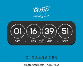 Modern electronic countdown timer for the website. Circle section. Days, hours, minutes, seconds. Grey blue background. Vector drawing