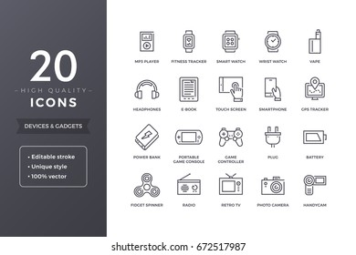 Modern electronic devices line icons. Personal portable gadgets icon set with editable stroke