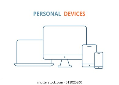 Modern electronic devices. Line style illustration of  laptop, pc, tablet and phone. Line vector icon for websites and mobile minimalistic flat design. Popular devices.