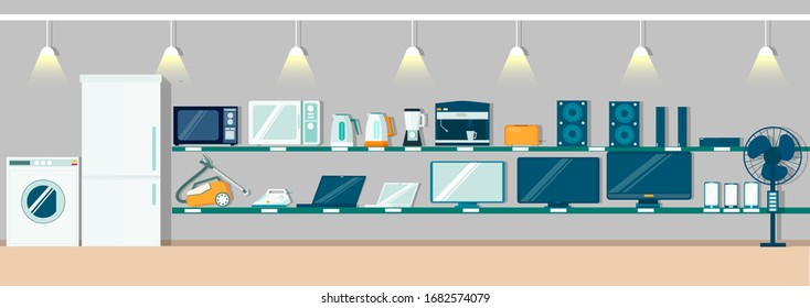 Modern electronics store interior, vector flat illustration. Fridge, washing machine, other consumer electronic products and home appliances on shelves for poster, banner etc. - Shutterstock ID 1682574079
