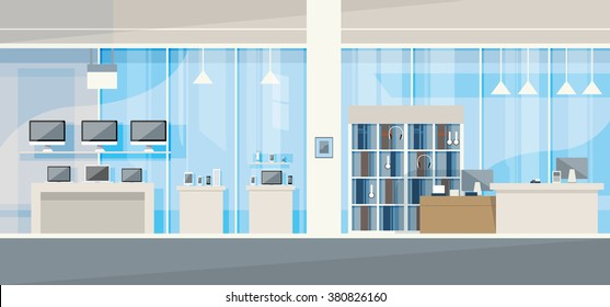Modern Electronics Store Shop Interior Vector Illustration